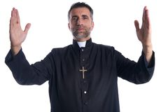 Priest open arms blessing praying God. Gesture isolated stock image