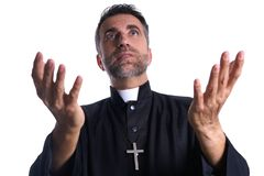 Priest open hands arms praying royalty free stock photos