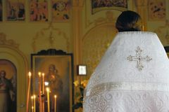 Priest in orthodox church. Close up of priest in orthodox church Stock Photos