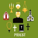 Priest with other religious icons, flat style Stock Photos