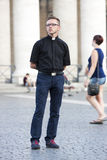 Priest posing (Vatican City) Stock Images