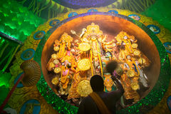 Priest praying to Goddess Durga, Durga Puja festival celebration Royalty Free Stock Photos
