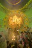 Priest praying to Goddess Durga, Durga Puja festival, Kolkata, India Royalty Free Stock Photo