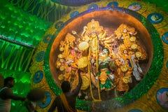 Priest praying to Goddesss Durga, Durga Puja festival, Kolkata, India Royalty Free Stock Photography