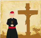 Priest prays by the cross, grunge background Stock Photography