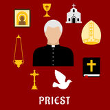 Priest and religious flat icons or symbols Stock Photography