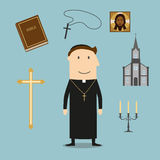 Priest and religious icons or symbols Stock Photos