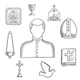 Priest and religious icons or symbols, sketch Stock Photos