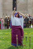 Priest Roman praying in ancient costum and rituals Royalty Free Stock Photos