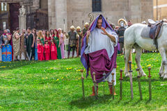 Priest Roman praying in ancient costum and rituals Stock Photography