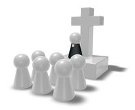 Priest. Simple pastor figure, christian cross symbol and crowd - 3d illustration Royalty Free Stock Photo