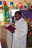 Priest speaking on Festa Junina. A Catholic priest speaking on the Festa Junina held for Saint Anthony in Brazil stock photo