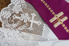 Priest stole on surplice Royalty Free Stock Photography