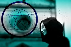 Priest of white magic, sorcerer with magical mask occult Masonic Lodge and Pentagram icon vector illustration