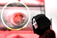 Priest of white magic, sorcerer with magical mask occult Masonic Lodge and Pentagram icon stock illustration