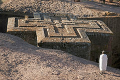 Alter Felsen gehauene Kirchen von lalibela Äthiopien Lizenzfreie Stockfotos