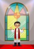 Priester die de kerkdienst in de kerk doen Stock Afbeelding