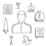 Priester en godsdienstige pictogrammen of symbolen, schets Stock Foto's