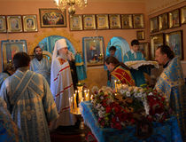 Priester, godsdienst, liturgie. Mitropolit Dnepropetrovsk de Oekraïne Royalty-vrije Stock Fotografie