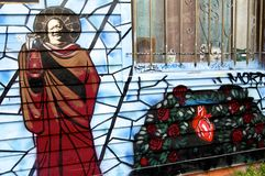 Priester Mural der Fanfaren-Gasse in San Francisco stockfotografie