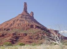 Priester-und Nonnen-Felsen nähern sich Moab, Utah lizenzfreies stockfoto