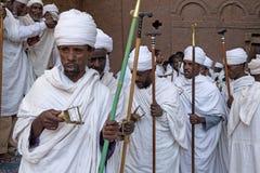 Priesters, Lalibela royalty-vrije stock foto