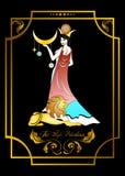 The priestess card. The illustration - card for tarot - the priestess Stock Photo