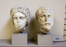 Priestess and Priest sculpture heads, Archaeological Museum Ephesus. Heads of statues of a priest and priestess from Ephesus are displayed in the Archaeological royalty free stock images