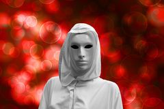 Priestess of red magic, sorcerer with magical mask occult , bokeh background stock illustration