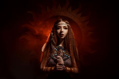 Priestess of the sun stock photo