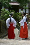 Priestesses. Inside japanese temple Royalty Free Stock Image