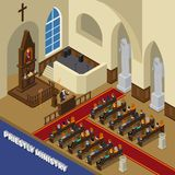 Priestly Ministry Isometric Composition Stock Photo