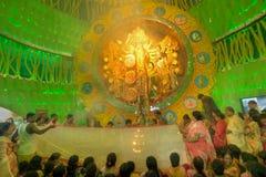 Priests carrying Sari (Hindu dress for women) for Goddess Durga, Durga Puja festival, Kolkata, India Royalty Free Stock Photos