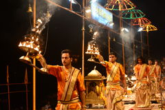 Priests at ganga aarti varanasi. Priests doing daily prayer at varanasi,India royalty free stock photos