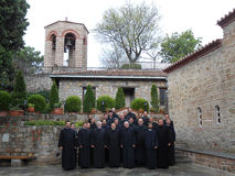 PRIESTS IN THE GREAT METEORON MONASTERY, GREECE stock image