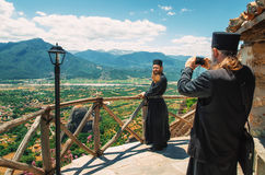 Priests in The Great Meteoron, Thessaly, Meteora, Greece Stock Images
