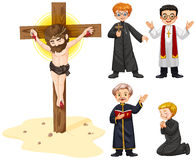Priests and jesus figure. Illustration Royalty Free Stock Image
