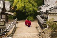 Priests in the Kasuga in Nara,Japan. Kasuga in Nara, is one of the three largest shrines in Japan. When I arrived here, it was evening, and the priests had royalty free stock photo