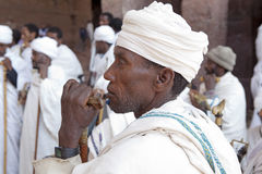 Priests, Lalibela. A close up of a Priest amongst his companion priests. Lalibela royalty free stock images
