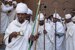 Priests, Lalibela. Priests during a service, Lalibela royalty free stock photo