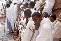 Priests, Lalibela. Priests taking part in a service in Lalibela stock photo