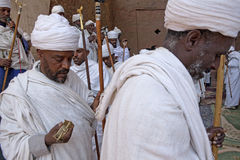 Priests, Lalibela. Priests taking a service, Lalibela stock photography