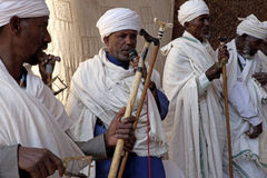 Priests, Lalibela. Priests taking a service, Lalibela royalty free stock images