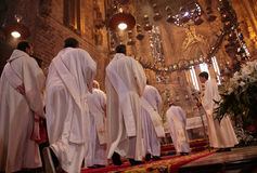Priests at mass in Palma de Mallorca cathedral royalty free stock photos