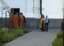 Priests near the church. Kiev. May 2017year Stock Photography