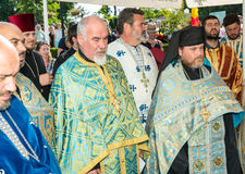 Priests at a prayer service in Pomorie, Bulgaria. Pomorie - famous resort town in Bulgaria. In summer it is a popular tourist destination, mainly from Russia royalty free stock photo