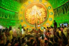 Priests praying to Goddess Durga, Durga Puja festival celebration, Kolkata, India Royalty Free Stock Photos
