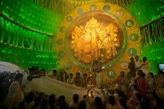 Priests praying to Goddess Durga, Durga Puja festival celebration, Kolkata, India Stock Photography