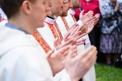 Priests. Procession of Body of Christ. Priests stock photography