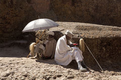 Priests sat outside, Lalibela stock photography